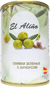 «EL alino», оливки крупные с анчоусами, 270г
