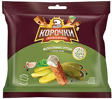 «3 Корочки», сухарики со вкусом малосольных огурчиков и соусом тар-тар, 85г