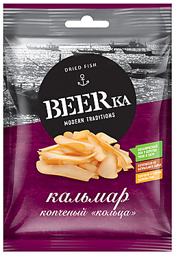 «Beerka», кольца кальмара копчёные, 70г