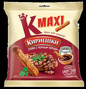 Сухарики «Кириешки Maxi» со вкусом стейка с черным перцем и соусом барбекю, 50г