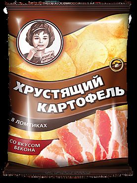 Чипсы «Хрустящий картофель» со вкусом бекона, 160г