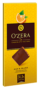 Шоколад молочный «OZera» Milk & Orange, 100г