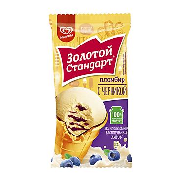 Мороженое «Золотой стандарт» пломбир с черникой, 89г