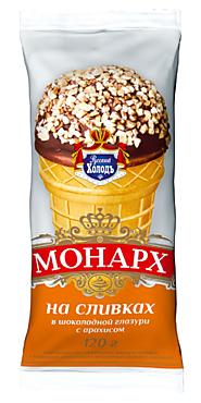 Мороженое «Монарх» на сливках, в шоколадной глазури с арахисом, 120г