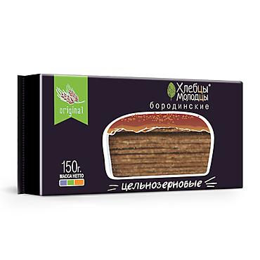 Хлебцы цельнозерновые ржано-пшеничные «Хлебцы-Молодцы» Бородинские, 150г