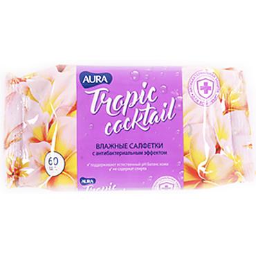Влажные салфетки «Aura» Tropic Cocktail с антибактериальным эффектом, 60 шт