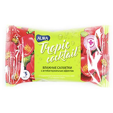 Влажные салфетки «Aura» Tropic Cocktail с антибактериальном эффектом, 15 шт