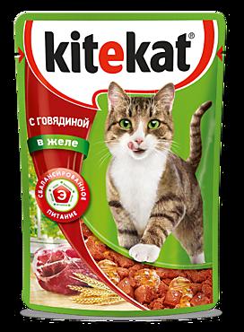 Влажный корм для кошек «Kitekat» с сочными кусочками говядины в желе, 85г