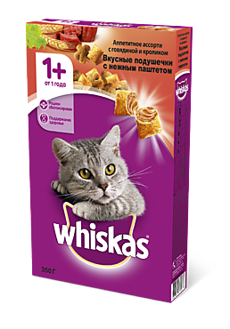 Сухой корм для кошек «Whiskas» подушечки с говядиной и кроликом, 350г