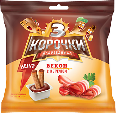 Сухарики «3 Корочки» со вкусом бекона и кетчупом Heinz, 85г