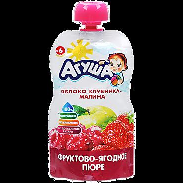 Пюре «Агуша» Яблоко-клубника-малина, 90г