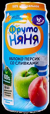 Пюре «ФрутоНяня» Яблоко и персик со сливками, 250г