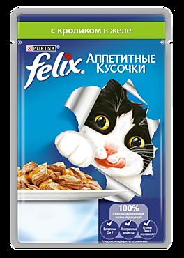 Корм для кошек «Felix» Кролик в желе, 85г