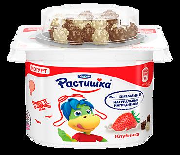 Йогурт 3% «Растишка» с клубничным вкусом и драже, 115г