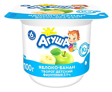 Творог детский 3.9% «Агуша» Яблоко и банан, 100г