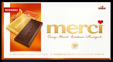 Шоколад «Merci» Апельсин и миндаль, 72%, 100г