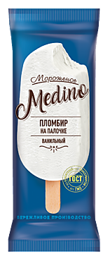 Мороженое «Medino» ванильный пломбир на палочке, 60г