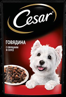 Влажный корм «Cesar» для взрослых собак, с говядиной и овощами в соусе, 85г