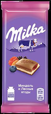 Шоколад молочный «Milka» с двухслойной начинкой «Миндаль и лесные ягоды», 90г