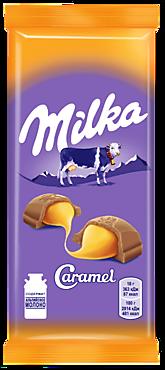 Шоколад молочный «Milka» с карамельной начинкой, 90г