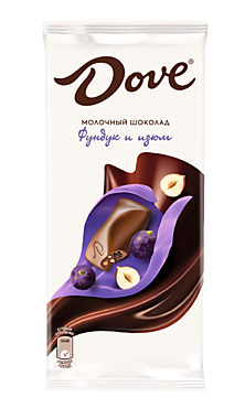 Молочный шоколад «Dove» фундук-изюм, 90г