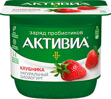 Биойогурт 2.9% «Активиа» с клубникой, 150г