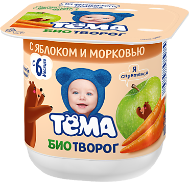 Биотворог 4.2% «Тёма» с яблоком и морковью, 100г