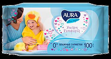 Влажные салфетки «Aura» для детей, 100шт