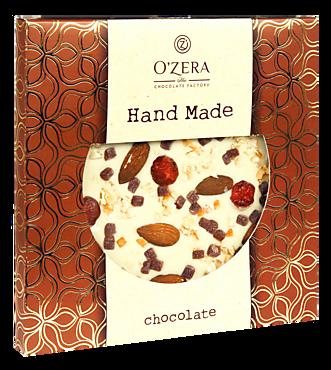 Белый шоколад ручной работы «O'Zera Hand Made» с апельсином, вишней, малиной и цельным миндалем, 150г