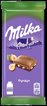 Шоколад «Milka» молочный с дробленым фундуком, 90г