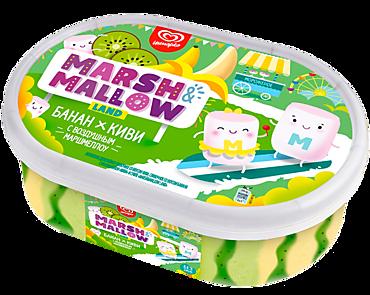 Мороженое двухслойное «MARSH&MALLOW LAND» банан-киви с воздушным маршмеллоу, 454г