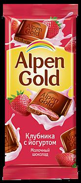 Шоколад «Alpen Gold» молочный Клубника с йогуртом, 85г
