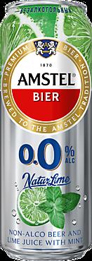 Пивной напиток «Amstel» Лайм-мята, безалкогольный, 430мл