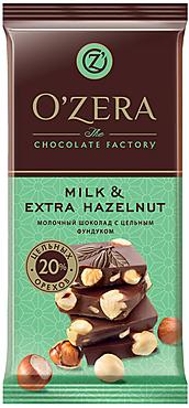 «OZera», шоколад молочный с цельным фундуком  Milk & Extra Hazelnut, 90г