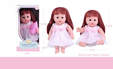 Кукла с длинными волосами в платье с цветочками, с бутылочкой