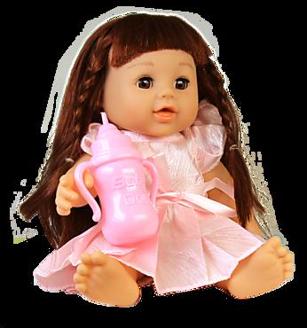 Кукла с длинными волосами в платье с пояском, с бутылочкой