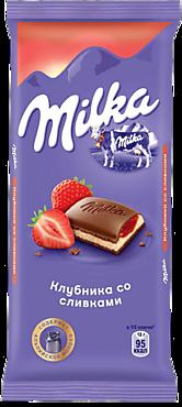 Шоколад молочный «Milka» Клубника-сливки, 85г