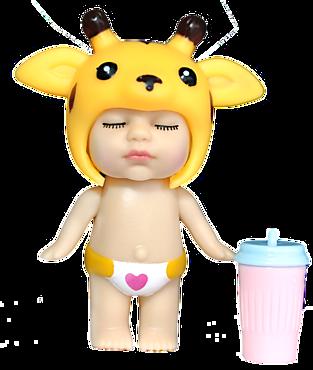 Куколка-сюрприз в съемной шапочке зверька, с бутылочкой