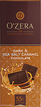 «OZera», горький шоколад Dark&Sea salt caramel, 90 г