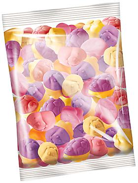 Мармелад жевательный со вкусами клубники, черной смородины и апельсина (упаковка 0,5кг)