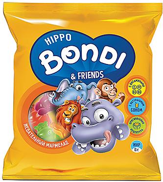 «HIPPO BONDI & FRIENDS», мармелад жевательный с соком ягод и фруктов, 70г