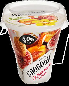 Биойогурт густой 5% «Слобода» с инжиром, сливой и миндалем, 250г