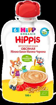Фруктовая каша «HIPP» с овсянкой, яблоко-банан-малина-черника, 100г