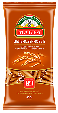 Макаронные изделия «Makfa» Перья, цельнозерновые, 450г