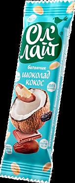 Фруктово-ореховый батончик «Ол`лайт» шоколадный с кокосом, 30г