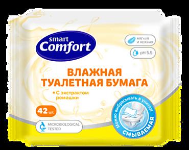 Туалетная бумага влажная «Comfort smart» с экстрактом ромашки, 42шт