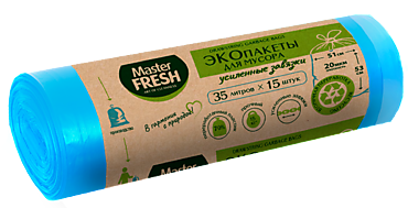 Пакеты для мусора «Master Fresh» ECO line с усиленными завязками, 35 литров, 15шт