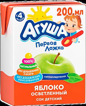 Сок «Агуша» яблочный, осветленный, 200мл