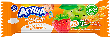 Батончик фруктовый «Агуша» Яблоко-Клубника-Злаки, 15г