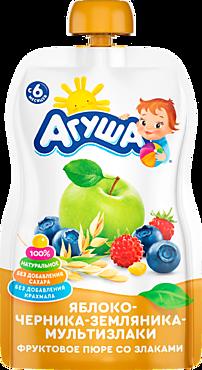 Пюре фруктовое «Агуша» Яблоко-Черника-Земляника-Мультизлаки, 90г